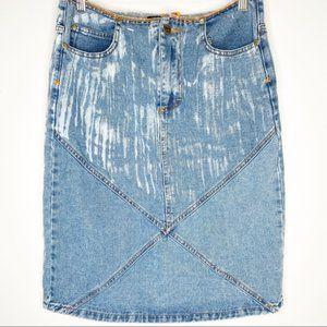 Ruby Club vintage Y2K acid wash denim pencil skirt